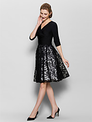 A-Line V-neck Knee Length Lace Jersey Mother of the Bride Dress with Criss Cross Ruching by LAN TING BRIDE®