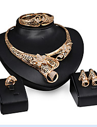 Europe and the United States explosion exaggerated gold necklace earrings bracelet ring banquet set