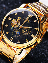 cheap -Men's Mechanical Watch Wrist watch Fashion Watch Automatic self-winding Water Resistant / Water Proof Hollow Engraving Imitation Diamond