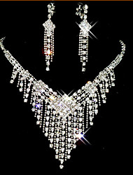 cheap -Jewelry Set Tassel Cute Party Cubic Zirconia Silver Plated Imitation Diamond Alloy Necklace Earrings