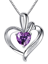 cheap -Fashion Purple 925 Sterling Silver  Wedding Party LOVE Pendant Necklaces For woman