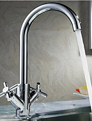 Недорогие -кухонный смеситель - Две ручки одно отверстие Хром Бар / Prep Настольная установка Современный Kitchen Taps