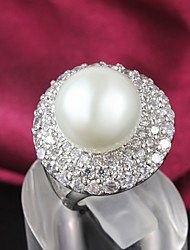 Fashion New Luxury Pearl Ring 18K Siliver Plated CZ stone Ring For Woman& Lady