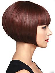 Недорогие -моде красный цвет вина прямые короткие синтетические парики женщины