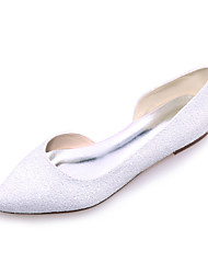 cheap -Women's Shoes Glitter Spring Summer Flat Heel for Wedding Party & Evening White Black Ivory