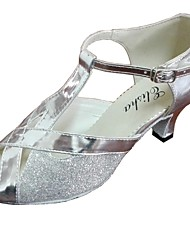 Women's Leatherette And Glitter Upper Dance Shoe For Latin And Salsa Customizable