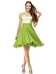 cheap -A-Line / Fit & Flare Scoop Neck Knee Length Chiffon / Tulle See Through Cocktail Party / Prom Dress with Sequin by TS Couture®