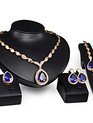 cheap -Synthetic Ruby Jewelry Set - Cubic Zirconia, Gold Plated Drop Statement, Party, Link / Chain Include Red / Blue For Wedding Party Gift / Rings / Earrings / Necklace / Bracelets & Bangles