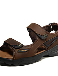 cheap -Men's Sandals Water Shoes Comfort Nappa Leather Spring Summer Fall Casual Dress Outdoor Office & Career Gray Light Brown 1in-1 3/4in