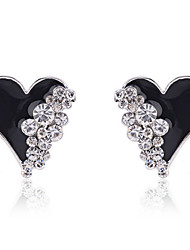 cheap -Women's Crystal Stud Earrings - Crystal, Gold Plated, Imitation Diamond Heart, Love Fashion White / Black For Party / Daily / Casual