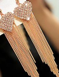 abordables -Mujer Diamante sintético Borla / Largo Pendiente - Zirconia Cúbica, Diamante Sintético Corazón, Amor Lujo, Borla, Vintage Dorado Para Diario