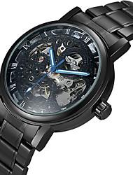baratos -WINNER Homens Relógio Esqueleto / relógio mecânico Gravação Oca Aço Inoxidável Banda Luxo Preta / Prata / Automático - da corda automáticamente