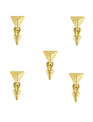 cheap -10pcs Stylish Gold Pyramid Stud with Spike Dangle 3D Nail Art Decoration 6mm x14mm