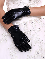New Bridal Glove Black Women's Wrist Length Party Evening Events Fingertip Gloves  With DIY Pearls and Rhinestones