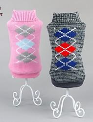 preiswerte -Katze Hund Pullover Hundekleidung warm halten Plaid/Karomuster Grau Rosa Kostüm Für Haustiere