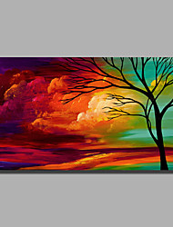 cheap -Ready to Hand Stretched Oil Painting Hand-Painted Canvas Wall Art Modern Trees Clouds Green Red one Panel