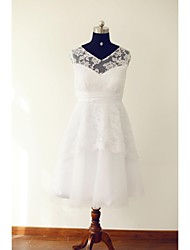 cheap -A-Line V Neck Tea Length Lace / Tulle Made-To-Measure Wedding Dresses with Lace / Sash / Ribbon / Ruched by / Little White Dress