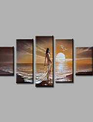 pronto a appendere appeso telaio dipinto a mano pittura a olio pittura tela di canapa muraglia arte spiaggia ragazze di sole cinque pannelli