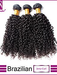 Недорогие -Бразильские волосы Классика Кудрявое плетение Кудрявый вьющиеся Ткет человеческих волос 3 предмета Высокое качество 0.3 Повседневные
