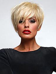 Недорогие -супер короткие прямые человек девственный Реми волос руки связали верхнюю женскую монолитным парик