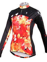 cheap -ILPALADINO Cycling Jersey Women's Long Sleeves Bike Jersey Top Quick Dry Breathable 100% Polyester Leaf Spring Summer Fall/Autumn