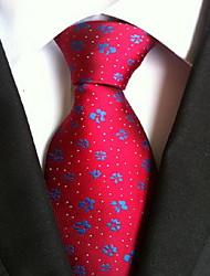 Men Wedding Cocktail Necktie At Work Red Blue Flower Tie