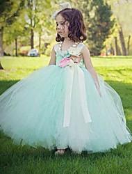 robe de bal longueur de cheville robe de fille de fleur - tulles sans manches spaghetti avec fleur par ydn