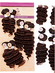 cheap -Natural Color Hair Weaves Deep Wave Hair Extensions Brazilian Black Dark Brown Medium Brown Human Hair Weaves 0.2