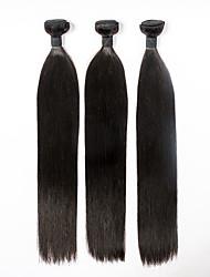 Cabelo Humano Cabelo Eurásio Cabelo Humano Ondulado Liso Extensões de cabelo 3 Peças Preto