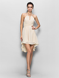 cheap -Sheath / Column Halter Asymmetrical Chiffon Bridesmaid Dress with Draping by LAN TING BRIDE®