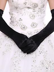 Black Opera Length Fingertips Glove Spandex  Bride Gloves with DIY Pearls and Rhinestones