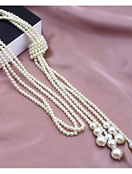 cheap -Women's Fashion Multi Layer Strands Necklaces Pearl Necklace Pearl Imitation Pearl Alloy Strands Necklaces Pearl Necklace , Wedding Party