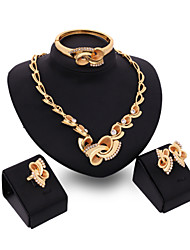 cheap -Women's Cubic Zirconia / 18K Gold Cute Jewelry Set Bracelet / Earrings / Necklace - Vintage / Party / Work Gold Jewelry Set For Party /