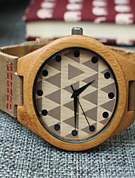 cheap -Men's Wood Watch Unique Creative Watch Wrist watch Quartz Fashion Leather Band Casual Khaki