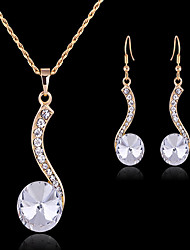 Jewelry Set Cute Party Work European Gemstone & Crystal Cubic Zirconia Gold Plated Imitation Diamond Circle Geometric Necklace Earrings