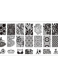 Недорогие -5 pcs Стразы для ногтей Штамповочная плита маникюр Маникюр педикюр Повседневные Цветы / Мода / Штамповка плиты / Украшения для ногтей / Металл
