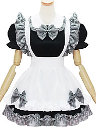 One-Piece/Dress Maid Suits Classic/Traditional Lolita Lolita Cosplay Lolita Dress Black White Color Block Print Short Sleeve Short Length