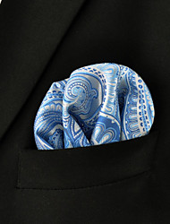 cheap -Men's Paisley Laight Blue Dress 100% Silk Business Fashion Pocket Square