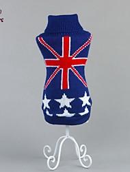 Недорогие -Кошка Собака Свитера Одежда для собак На каждый день Мода Государственный флаг Синий Костюм Для домашних животных