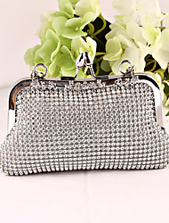 Damen Taschen Ganzjährig Metall Satin Abendtasche Crystal / Strass für Hochzeit Veranstaltung / Fest Formal Gold Schwarz Silber