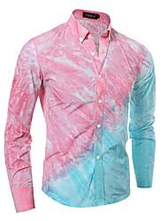 cheap -Men's Weekend Business Chinoiserie Cotton Slim Shirt - Color Block, Print