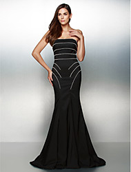 cheap -Mermaid / Trumpet Strapless Sweep / Brush Train Jersey Formal Evening Dress with Beading by TS Couture®