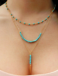 cheap -Turquoise Beaded tassels chain multi Necklace Classical Feminine Style