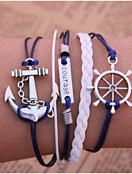 cheap -Layered Chain Bracelet / Wrap Bracelet / Vintage Bracelet - Leather Anchor Inspirational, Multi Layer Bracelet Blue For Christmas Gifts / Party / Daily / Leather Bracelet