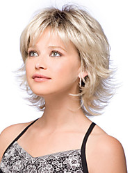 cheap -Synthetic Wig Natural Wave Bob Haircut With Bangs Side Part Dark Roots Blonde Women's Capless Short Synthetic Hair