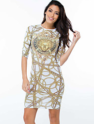 Women's  Trendy Gold Chain Print Dress