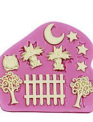 cheap -Silicone Cake Decorating Mold Cats At Night Theme Moon StarsFence Trees Owl For Fondant Cake Tools