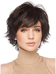 cheap -Synthetic Wig Curly With Bangs Synthetic Hair Side Part Brown Wig Women's Short Capless
