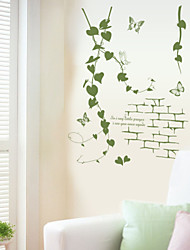 Wall Stickers Wall Decals, Green Rattan PVC Wall Stickers