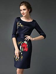Χαμηλού Κόστους Κέντημα-Γυναικεία Επίσημα / Δουλειά / Μεγάλα Μεγέθη Κινεζικό στυλ Θήκη Φόρεμα,Κέντημα ¾ Μανίκι Στρογγυλή Λαιμόκοψη Πάνω από το Γόνατο Μπλε